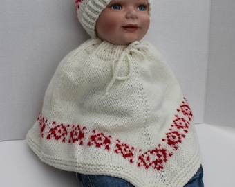 Southwest Baby Poncho, Hat and Moccasin Booties Set. Hand Knit Baby Poncho. Knit Baby Hat. Knit Baby Booties 0 - 3 months