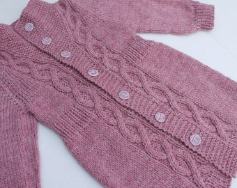 Hand Knit Girl Cardigan. Size 2.