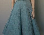 1950s Aqua Turquoise Halter Dress // Gold Thread Quilting // Belted // Full Sweep // Pockets // Adorable - As IS