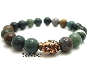 Buddha Indian Agate Energy Bracelet, Meditation, Energy Beads, Zen, Spiritual, Prayer Beads, Yoga, Gift,