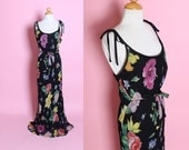 GORGEOUS 1930's Style Bias Cut Painted Floral Rayon Crepe Statuesque Hourglass Gown w/ Bow Detailed Thin Straps & Attached Tie Belt- M to L