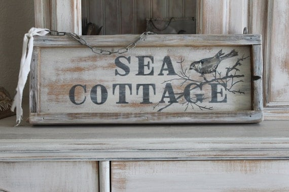 Beach Signs and Cottage Signs - Seashell Decor
