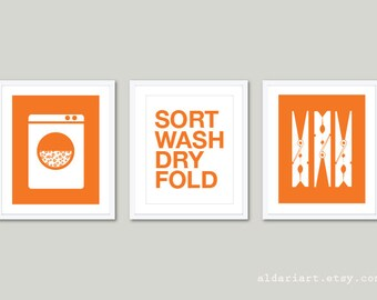 Laundry Room Art Prints  - Set of 3 - Laundry Wall Art - Laundry Decor - Modern Home Decor - Tangerine Orange and White - Sort Wash Dry Fold