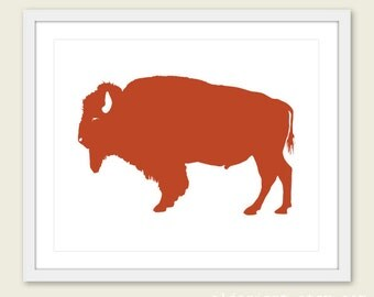 Buffalo Art Print - Buffalo Wall Art - Modern Buffalo Art - Rustic Buffalo Print - Rust Orange Art - Buffalo Poster - Aldari Art