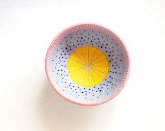 Ceramic Pink and Yellow Polka Dot Jewelry Bowl