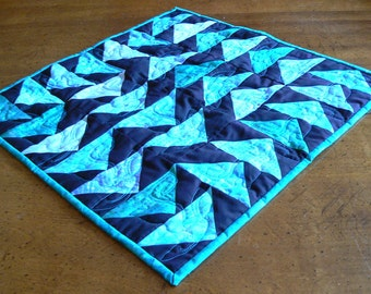 Flying Geese Table Topper in Teal and Black