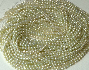 Full Strand Pale Green Freshwater Rice Pearls - 3mm - Beautiful Luster - Fine Quality