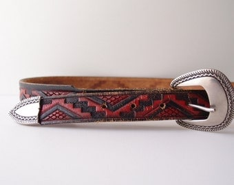 70s vintage red & black Tooled Leather belt by Chambers ... fits 28 to 32.5