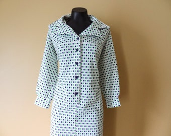 MOD Blue and Green Polka Dot Dress size Large