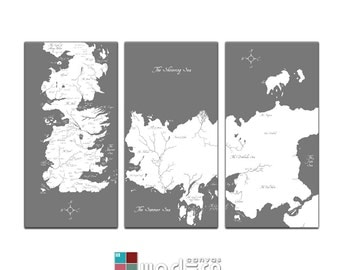 Game Of Thrones Known World Map Canvas Giclee Triptych - Grey and White