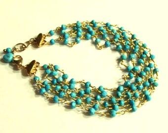 Six Strands of Turquoise Bracelet - Handmade, Artisan Bracelet, 14k Gold Filled, Rosary Chain