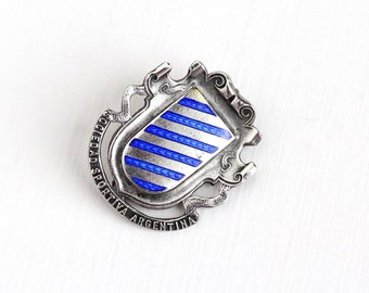 Sale - Antique Edwardian Sterling Silver Blue Guilloche Enamel Sociedad Sportiva Argentina Pin - Vintage Dated 1910 Hemming Shield Jewelry