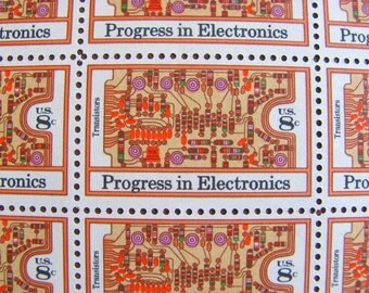 Transistor Sister Full Sheet of 50 Vintage UNUsed US Postage Stamps 8c 1973 Progress in Electronics Save the Date Wedding Postage Technology