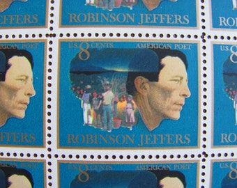 Robinson Jeffers 40 Vintage UNused US Postage Stamps 1973 8c Man and Children of Carmel Burro Sapphire Blue Save the Date Wedding Postage