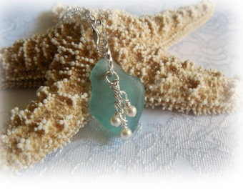 Turquoise Beach Glass and Pearl Pendant