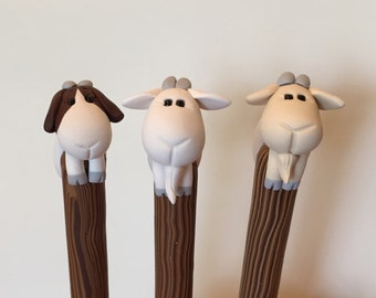 Polymer Clay White Goat Ballpoint Pen