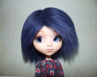 Dark blue faux fur wig hair for Pullip/Taeyang