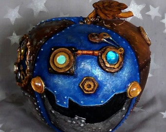 "Celestial Steampunk, embellished, foiled gourd, hand painted, 8"" diameter x 8"" tall"