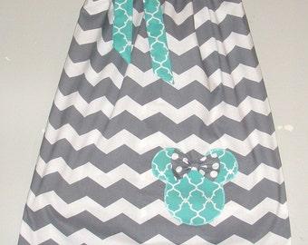 Minnie Mouse dress Grey white chevron Teal accents pillowcase dress appliqued Disney dress 3, 6,9,12,18 months 2t, 3t, 4t,5t,6