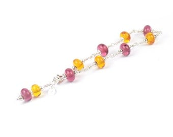 Raspberry and Amber Lampwork Glass Bracelet - Sterling Silver