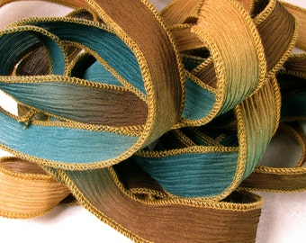 Hand Dyed Silk Ribbon - Crinkle Silk Ribbons Hand Painted Bracelet - Fairy Ribbons - Quintessence - Stormy Beach