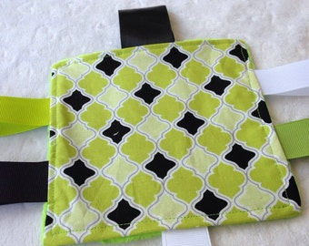 Lime Green Black Modern Baby Crinkle Toy