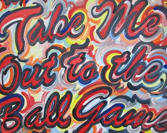 24x30 Take Me Out To the Ball Game Painting by Justin Patten Sports Art College Baseball