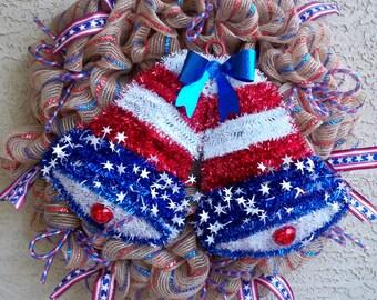 Americana, Patriotic, 4th of July Deco Mesh Wreath