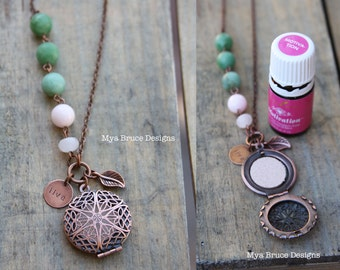 Antique Copper DIFFUSER necklace -  long antiqued copper design with pink and green stones