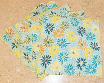 Cloth Wipes- Blue Daisies- Set of 5- 15045