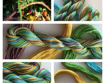 "Size 10  ""IGUANA""  Hand Painted Thread for Tatting and Crochet -  50 Yard skein"