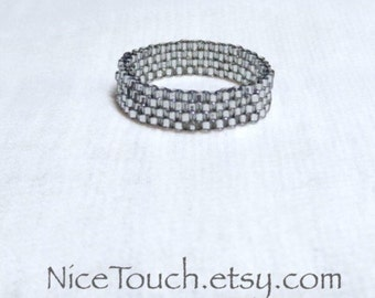 SUMMER SALE!!! Free Shipping or Save 20% ~ Platinum Silver Sparkle peyote woven beaded ring ~ Made to Order