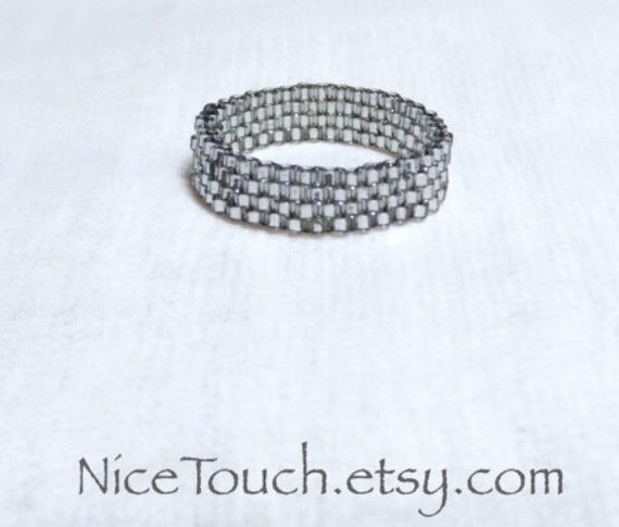 SPRING SALE!!! Free Shipping or Save 20% ~ Platinum Silver Sparkle peyote woven beaded ring ~ Made to Order