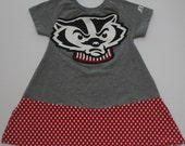 Upcycled University of Wisconsin Badgers Toddler Tshirt Dress Size 3T