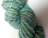 "Jumbo Super Bulky Handspun Yarn Alpaca and BFL Wool Hand Dyed 32 Yds (More avail.)  Lime Green Knitting Supplies Doll Hair  "" Pastel Posy  """