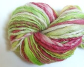 "Handspun Alpaca and Wool Thick and Thin Super Bulky Yarn 82 Yards Lime Green Coral Hand Dyed  "" Candied Apple  "" Doll Hair Knitting Supply"