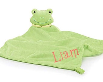 PERSONALIZED Infant Baby Security Snuggly Blankie Green Frog