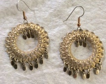 Gold filigree hoops gold drop dangle accents pierced earrings