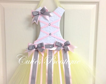 Tutu Dress Hair Bow Holder Yellow Pink Grey