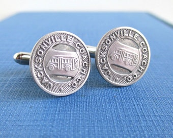 JACKSONVILLE Transit Token Cuff Links - Vintage Silver Tone Coins, Upcycled