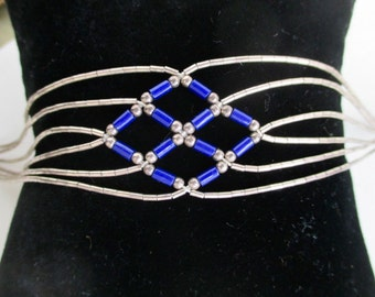 Native American Sterling Silver Link Bracelet - Liquid Silver & Blue Stone Beads, 7 1/2""