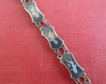 Siam Sterling Silver Bracelet - Niello Dancing Goddess, Vintage