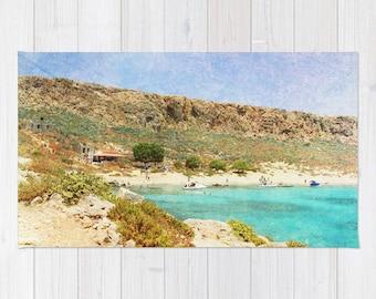 Art area throw Rug At Sea 3 Fine Art Photography home decor photograph photo Mediterranean texture ocean aqua sky blue beach nautical brown