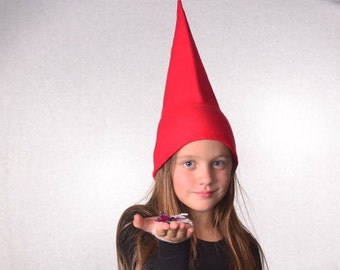 Childs Red Gnome Hat Girls Boys Kid Sized Point Hat Halloween Fleece Pointed Cap