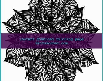 Doodle Flower Coloring Page - Instant Download
