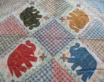"""Indian Hand made Bed cover(90""""X82"""") Queen Size with all body Applique Designs and Hand Embroidery-Elephant/ floral, all over the body!"""