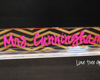 LARGE Personalized Acrylic Teacher Name Plate - Chevron Design
