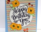 Happy Birthday to You Greeting Card - Handmade Paper Card with Yellow Roses