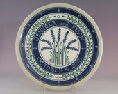 """11"""" Personalized Blue Wheat with Green Accents  Wedding Plate"""