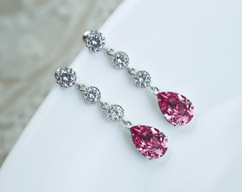 Fuchsia, Hot Pink Earrings, Wedding Fuchsia Swarovski Teardrop and Cubic Zirconia Earrings,Bridal Bridesmaids Earrings,Fuchsia Wedding Theme